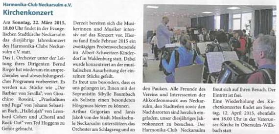 Neckarsulmer Woche 05. März 2015