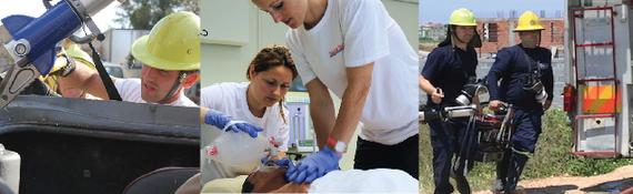 Technische Rettungsteams, medizinische Notfallhilfe und Feuerwehr
