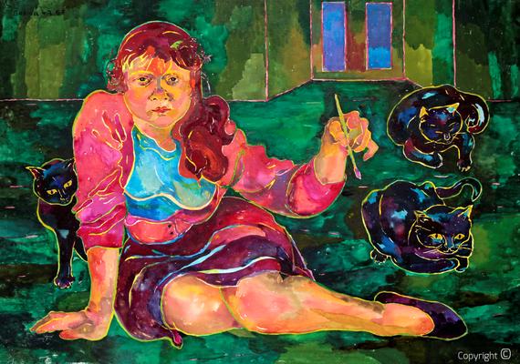 Bettina Heinen-Ayech (1937-2020): Selbstbildnis mit Katzen, 1957
