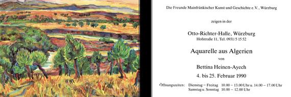 Einladungskarte zur Vernissage der Bettina Ausstellung in der Otto-Richter-Halle in Würzburg, 1990