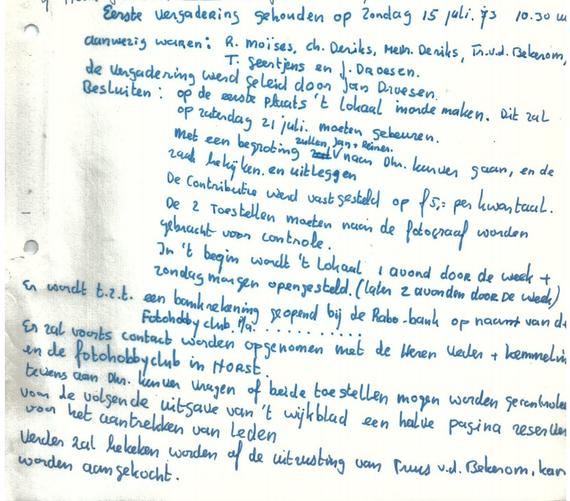Klein stukje tekst uit de oprichtingsnotulen van de fotogroep