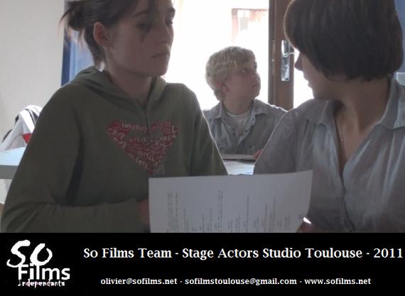Bérénice, Axel et Charline, en exercice de préparation du tournage