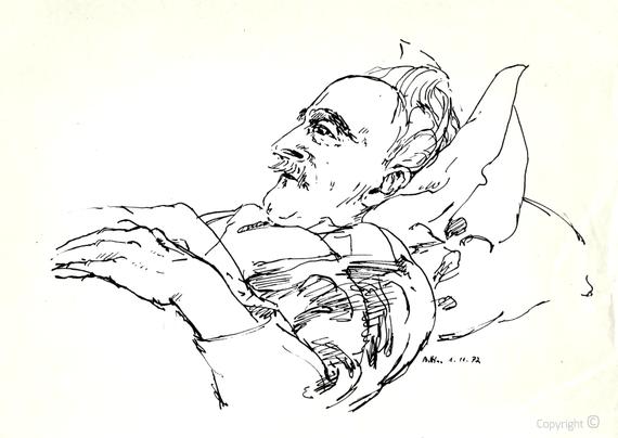 Bettina Heinen-Ayech (1937-2020): Erwin Bowien auf dem Sterbebett, 01. November 1972