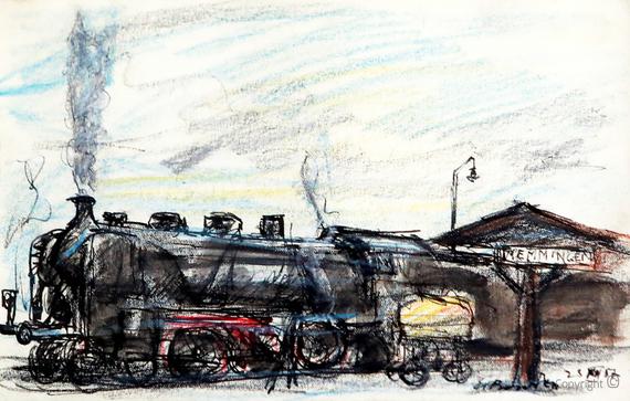Erwin Bowien (1899-1972): Dampflokomotive im Bahnhof von Memmingen