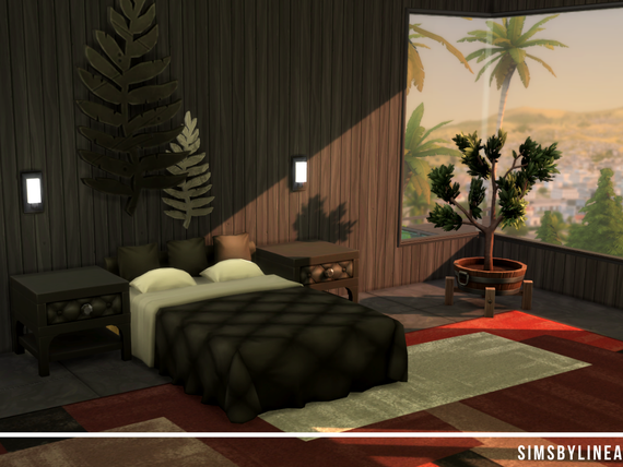 Black modern bedroom with wall art and a red rug and large windows built in the Sims 4 by Simsbylinea