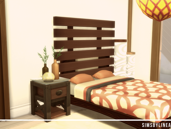 Cozy orange and brown bedroom, built in the Sims 4 by Simsbylinea