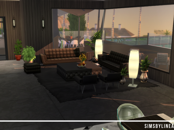 Modern interior design, black furniture and a big window. Made in The Sims 4 with custom content from TSR.