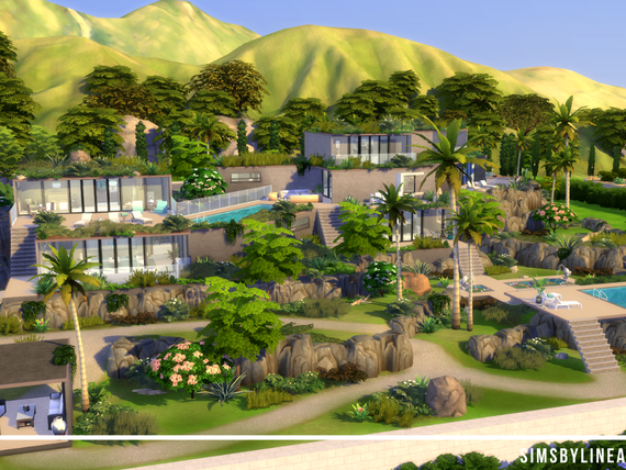 Modern mansion on top of a hill with generous landscaping and pools, made in The Sims 4 by SimsbyLinea