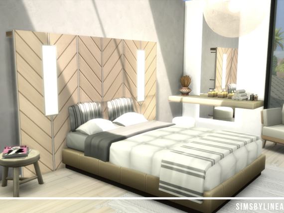 Modern bedroom with light beige colors and lots of light, built in the Sims 4 by Simsbylinea