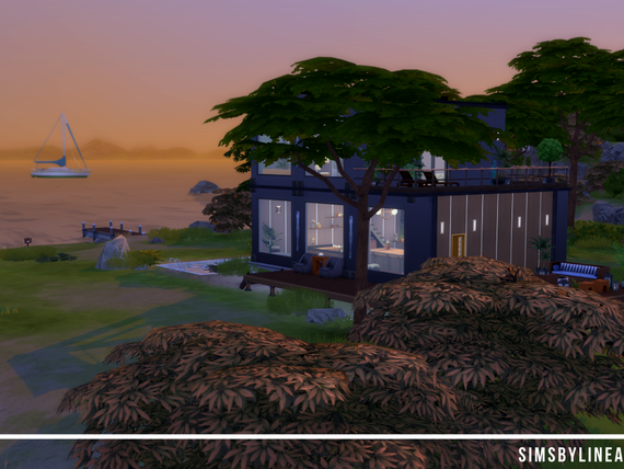 Seaside container home with big windows and a calming surrounding, made in The Sims 4 by SimsbyLinea