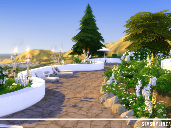 Backyard with a stunning view and beautiful landscaping, torches and deck chairs, built in The Sims 4
