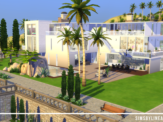 Modern white mansion with palm trees, balconies and a pool. Created in The Sims 4 with custom content from The Sims Resource.