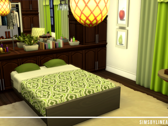 Green and brown traditional old bedroom with cabinets and a rug, built in the Sims 4 by Simsbylinea