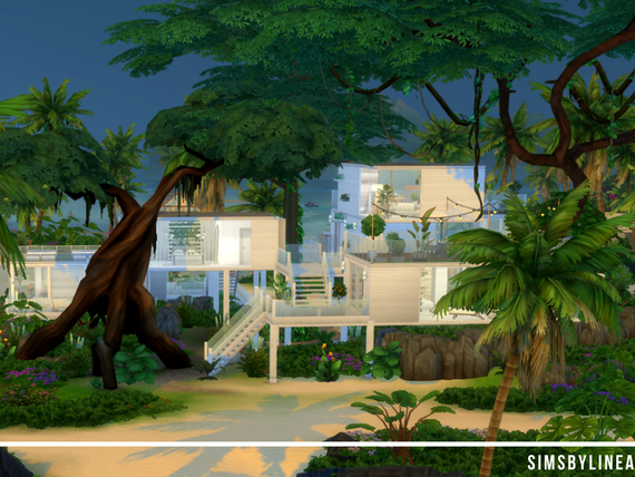 Modern building on stilts in the jungle with lots of plants and rocks, made in The Sims 4 by SimsbyLinea