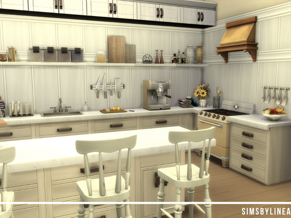 Farmhouse kitchen in white with shelves and lots of clutter, built in the Sims 4 by Simsbylinea