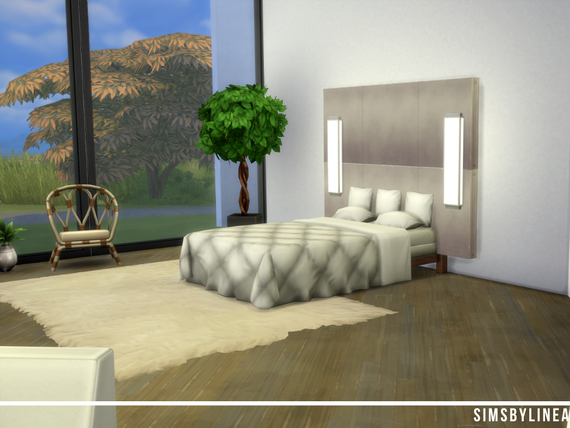 Modern bedroom with large windows and white interior, built in the Sims 4 by Simsbylinea