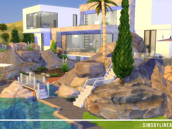 Modern House with large windows, landscaping and a pool Built in The Sims 4 with Custom Content.