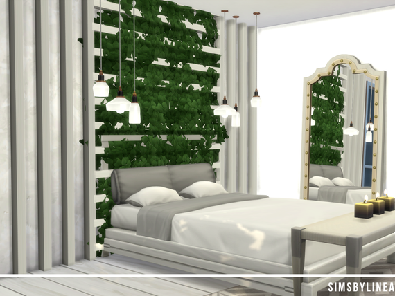 Modern white bedroom with plants on the wall, a mirror and candles, built in the Sims 4 by Simsbylinea