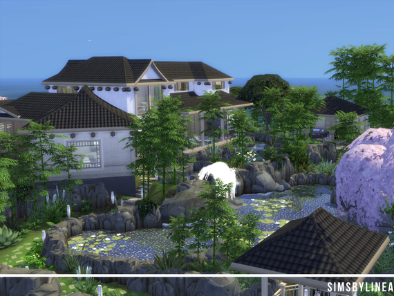 Japanese Modern Mansion surrounded by bamboo trees and a pond with fountains, made in The Sims 4 by SimsbyLinea