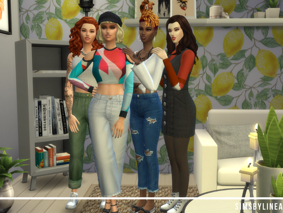 Girls standing in their living room in fashionable outfits, made in The Sims 4