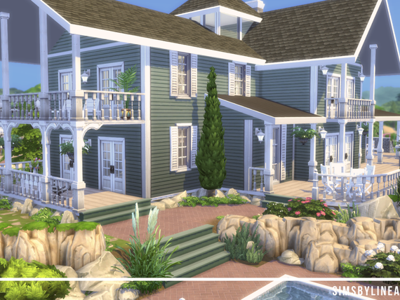 suburban mansion with green walls and white accents and a beautiful backyard, built in The Sims 4 by Simsbylinea