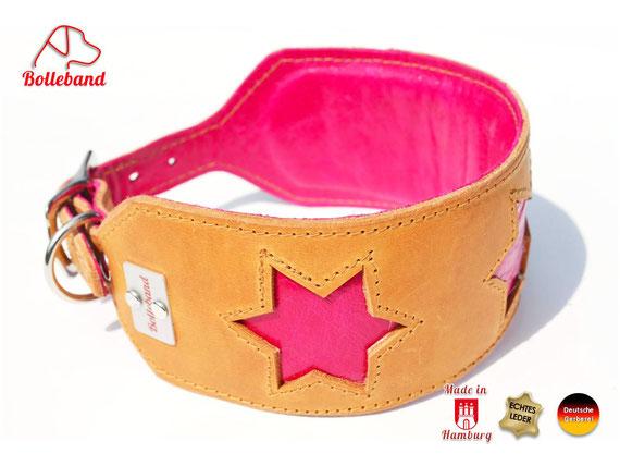 Windhundhalsband Leder cognac mit pinken Sternen Bolleband