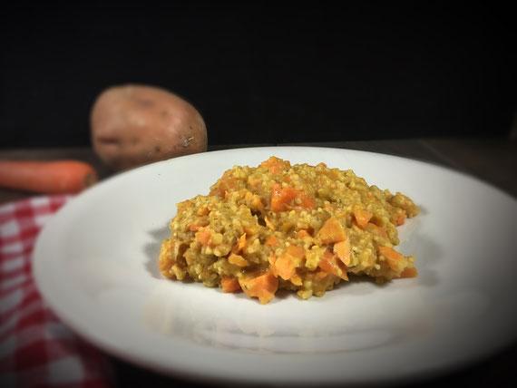 One Pot Hirse aus dem Thermomix mit Süßkartoffel Möhren und Erdnuss, vegan, All in One Gericht aus dem Thermomix mit Hirse