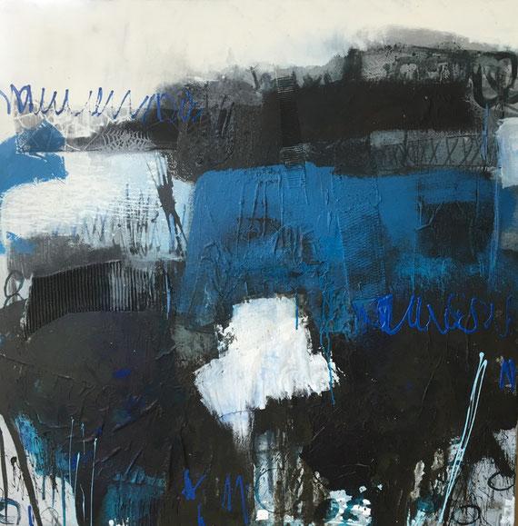 Bild Acryl-Mischtechnik auf Leinwand in Blau und weiss abstraktes Wrk