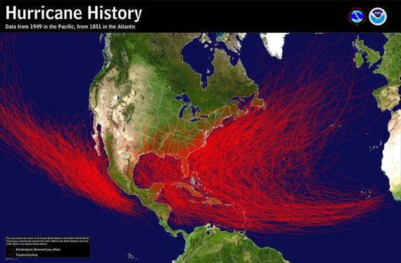 © NAOO/NWS | Klimatologische Auswertung der Zugbahnen von Hurrikanen mindestens der Kategorie 1 von 1851 (Atlantik) und 1949 (Pazifik) bis 2010.