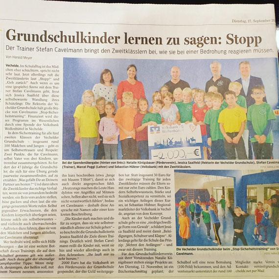 Sept. 2019: Zeitungsartikel über das Training in der Grundschule Vechelde