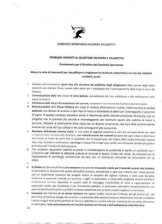 Lettera Comitato Falchera Villaretto prima parte