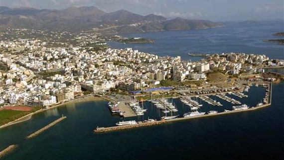Aerial View of the marina of Aghios Nikolaos in Crete