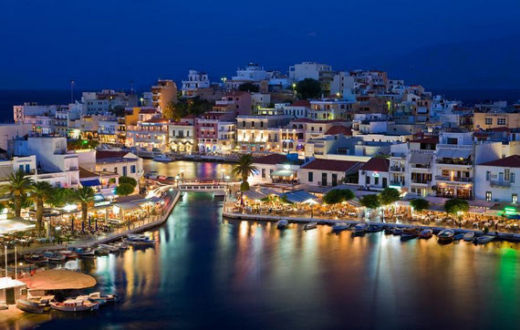 Night view of Aghios Nikolaos