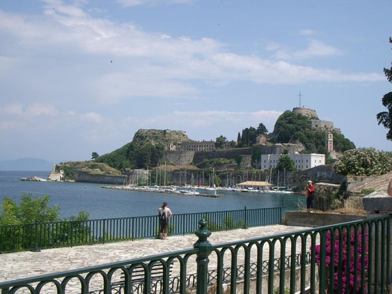 View from the town of Corfu - The fortress built by the Venetians