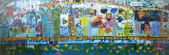 Muurschildering, De vrijheid, acrylverf op doek, 120cm x 360cm. hvn