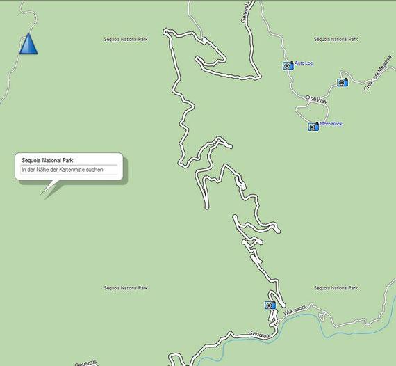 Die Abfahrt zum Campingplatz - einer der verückesten Straßen meines Autolebens. Eine Kurve nach der anderen.