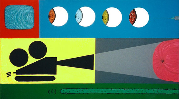 """kino""   acrylic on canvas 150cm x 90cm 1999; courtesy John Golding London"