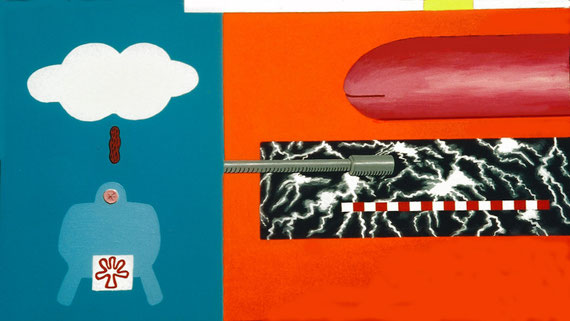 """""""good and bad weather traffic""""  acrylic on canvas  150cm x 90cm  1999"""