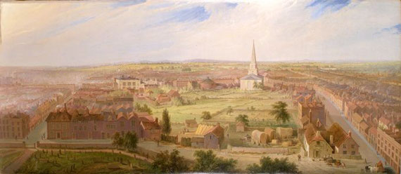 Birmingham from the Dome of St Philip's Church in 1821 by Samuel Lines, downloaded from Wikipedia