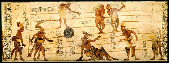 Juego de pelota ilustrando un códice maya.