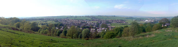 View north over Lammack from the highest point in Blackburn at the site of the old water tank at Revidge.