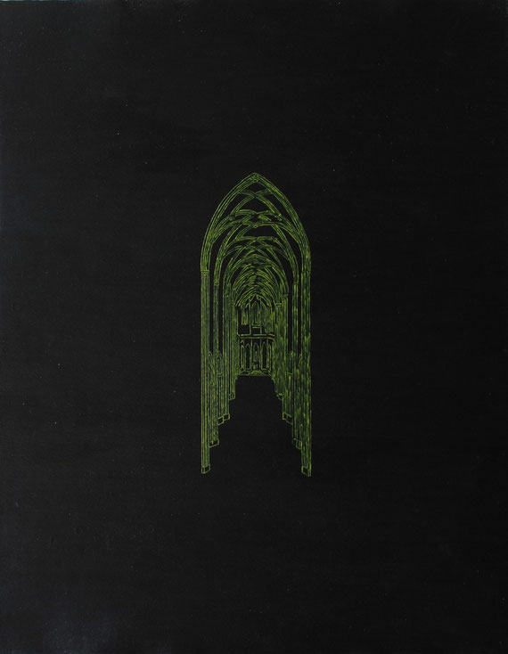 Heaven's Cathedral, Acryl auf Zeichenkarton/Acryl on drawing paper, 40 x 50 cm