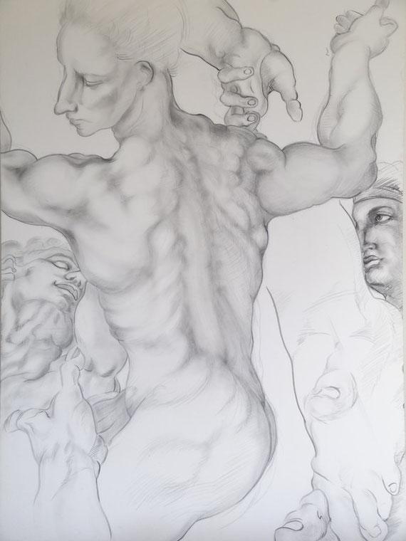 Drawing practice from Michelangelo(ミケランジェロからの模写) 80x110cm 2000