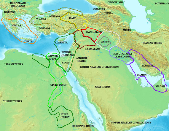 The time is aprox. between 1700 and 1300 bC. It is the period of the late Hyksos Dynasties and the 18th dynasty in Egypt. There is a international written language -a kind of Akkadian - that allows co