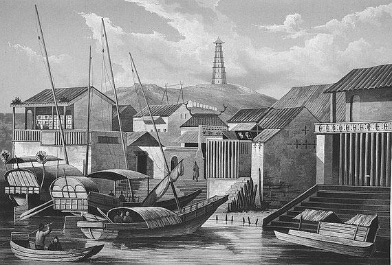 Village chinois. C. Laplace (1793-1875) : la CHINE, dans : Voyage autour du monde sur la Favorite (1830-1832). Et de : Campagne de circumnavigation de la frégate l'Artémise (1837-1840).