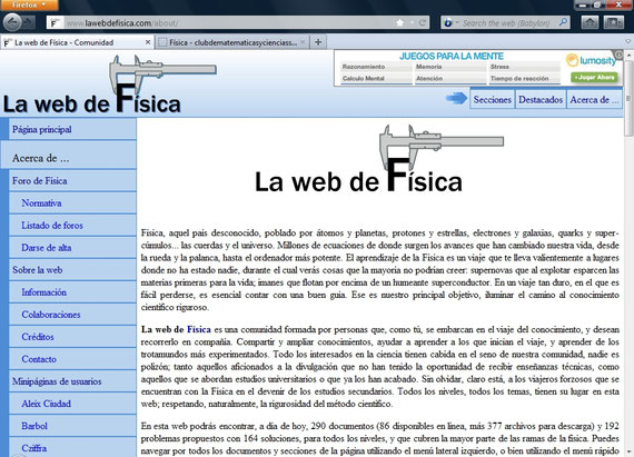 LA WEB DE LA FÍSICA