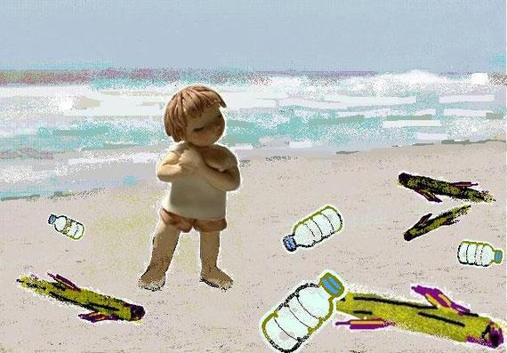 浜辺(海からのゴミ)