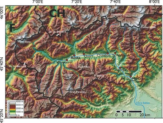 Das Aostatal, in dem die oben vorgestellten Hybriden vorkommen