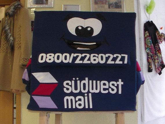Werbung der besonderen Art. Ganzkörperanzug für die Firma Südwest Mail.