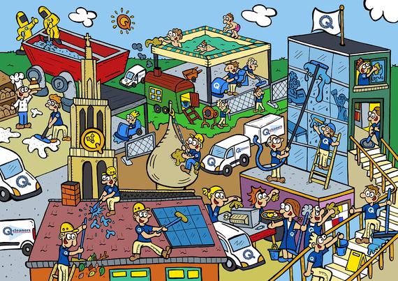 Van Bun Communicatie en Vormgeving - Gepersonaliseerde illustratie op canvas - Q Cleaners - Origineel geschenk